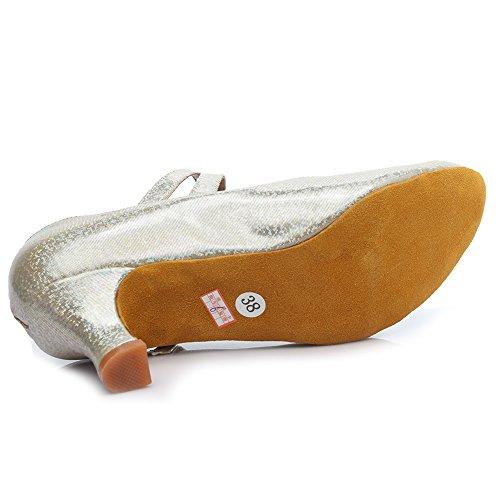HROYL Zapatos de baile/Zapatos latinos de Leather mujeres EM5-1605 Gold