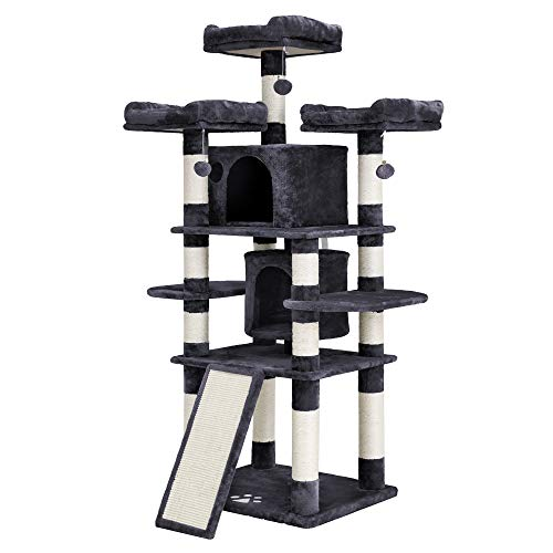 FEANDREA 67 inches Multi-Level Cat Tree for Large Cats, with Cozy Perches, Stable UPCT18G (Best Cat Trees For Multiple Cats)