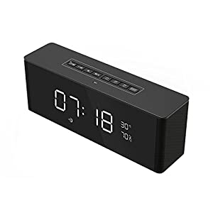 RimeU Alarm Clock Bluetooth Speaker 8W Stereo Speaker Built-in Mic FM Radio Support Music Hands-free Temperature Digital LED alarm Clock Micro TF Card AUX Calendar Rechargeable Gift (black)