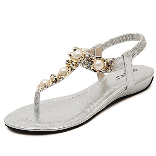 D2C Beauty Womens Summer Bohemian Beaded Pearl Flat Thong Sandals Sliver-1