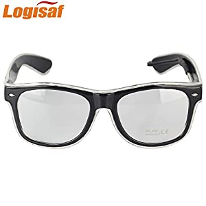 Logisaf LED Glow Eye Glasses With Voice Control Light Up El Wire Glowing Party Rave Glasses For Halloween,Costume Party, Party Favor (Blue, Black Frame)