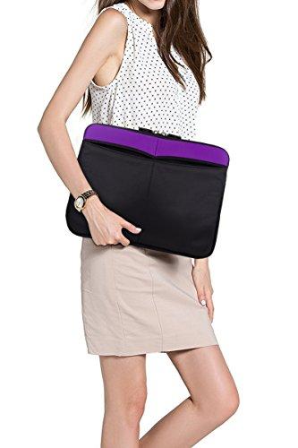 Kroo 12-13 Inch Laptop Sleeve Tablet Bag, Water Resistant Neoprene Notebook Computer Carrying Cover for MacBook, Microsoft Surface, Chromebook (Purple) by Kroo (Image #7)