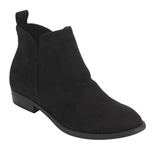 City Classified Women's Elastic Gore Pull-On Flat Heel Ankle Bootie Black