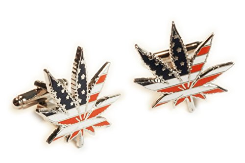 Marijuana 420 USA Flag Medical Pot Weed Medical Suit Wedding Cufflinks Cuff Links Pair