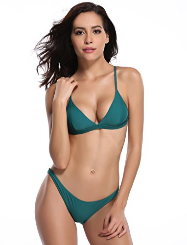 (SHEKINI Women's Triangle Bikini Bathing Suits (Medium, Green))