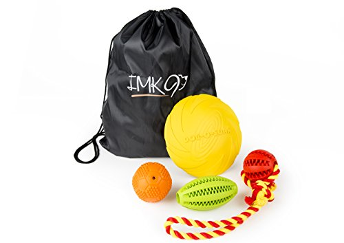 [Rubber Dog Toys – Stuffing Free Natural Rubber – Mix of Interactive Dog Toys - Squeak Ball, Rope for Tug, Frisbee, and Chew Toys - Gift Drawstring Bag - Small to Medium Dogs (Colors May] (Best Friend Costumes Ideas Diy)