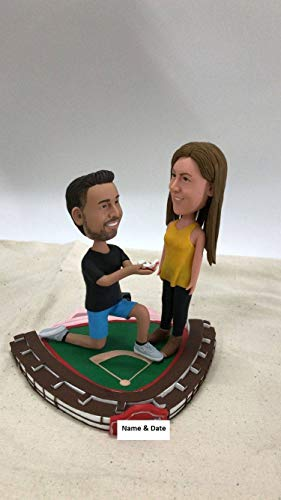 Wrigley Field Proposal Cake Topper Personalized Wedding Cake Topper Custom Bobble Head Clay Figurines Wrigley Field Theme Cake Topper