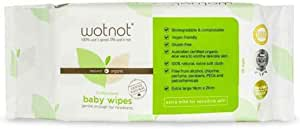 Wotnot Biodegradable Natural 70 Baby Wipes, 70 Count