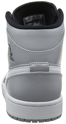 Nike Air Jordan 1 Mid, Scarpe da Basket Uomo Multicolore (Wolf Grey/White-black 046)