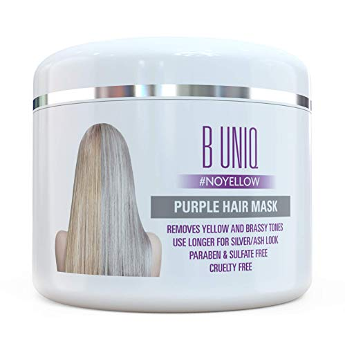 Purple Hair Mask For Blonde, Platinum & Silver Hair - Banish Yellow Hues: Blue Masque to Reduce Brassiness & Condition Dry Damaged Hair - Sulfate Free Toner - 7.27 Fl. Oz / 215 ml ()