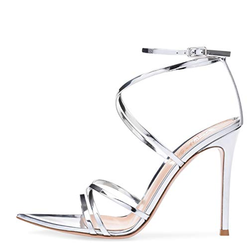 (Onlymaker Women's Sexy Ankle Strap Gladiator Stilettos Pointed Open Toe High Heels Sandals (5 M US, Silver))