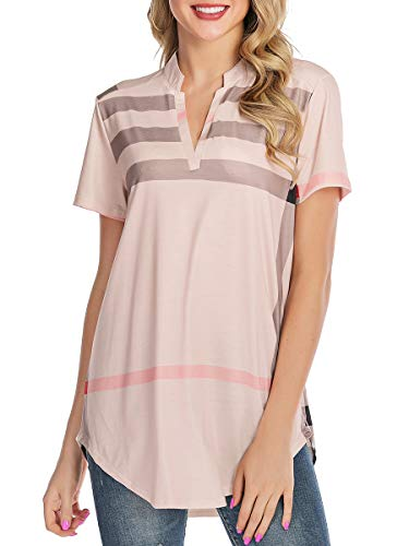 St. Jubileens Women Roll-Up Short Sleeve Plaid Shirt Tunic V Neck Casual Pullover Blouses Tops L Apricot