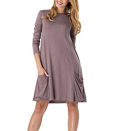 Fordbox Women Casual Knee Length Long Sleeve Basic Shirt Dress with Two Pockets Coffee3X (Yakima Wa Stores)