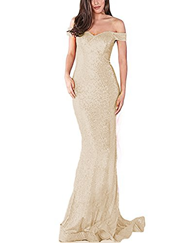 0712d8b9aba YSMei Women s Long Off The Shoulder Sequined Prom Party Dress Formal Gown  Champagne 18W