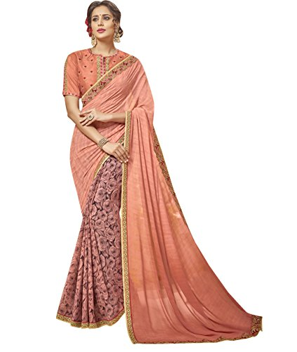 Indian Ethnicwear Faux Georgette Peach and Pink Coloured Floral Print Saree by Maahir Fashions