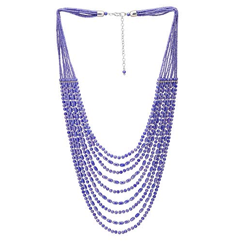 El Allure Multi Layered Lustrous Blue Preciosa Jablonex Glass Seed Bead with Silver Cut Beads Trendy Handmade Fine Unique Partywear Fashion Statement Necklace for Women. ()
