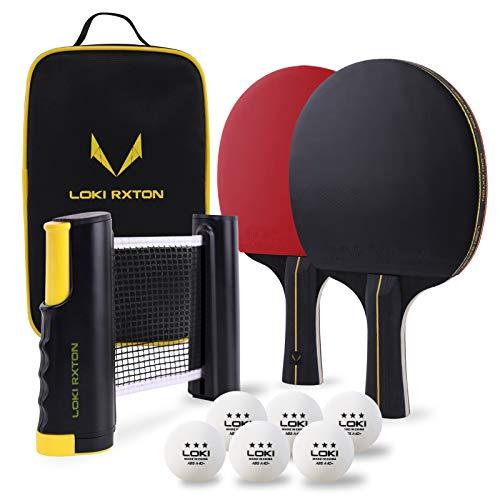 Kit de 2 raquetas de tenis de mesa red retráctil y pelotas