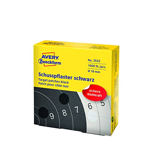 Avery zweckform 3522 schusspflaster ø 19 mm, 1000 étiquettes noires 1