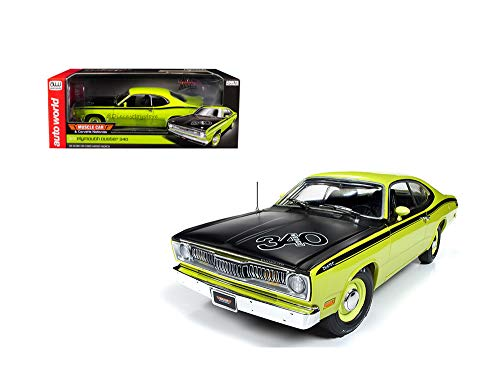 (New DIECAST Toys CAR AUTO WORLD 1:18 American Muscle - 1971 Plymouth Duster 340 - Muscle CAR & Corvette Nationals (HIGH Impact Curious Yellow) AMM1154)