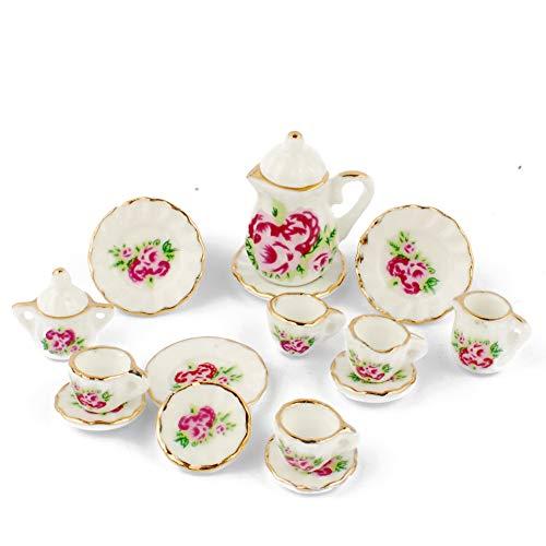 (NW 1 Set 15 Pieces Red Peony Ceramics Tea Cup Set Lovely Dollhouse Decoration Set Dollhouse Kitchen)