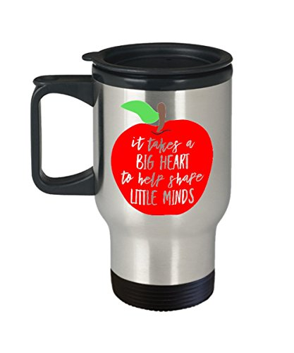 - It Takes a Big Heart to Help Shape Little Minds - Stainless Steel Travel Mug with Cute Apple - Teacher Gift for Appreciation Thank You End of School Y