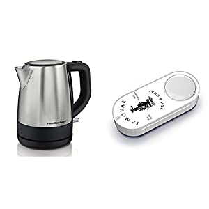 Hamilton Beach 40998 1 L Stainless Steel Electric Kettle, Silver & Samovar Tea Dash Button