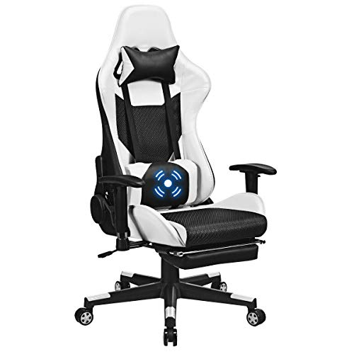 Giantex Gaming Chair Adjustable High Back Computer Racing Seat with Health Massager Lumbar Support, Thick Memory Sponge with 360 Degree Revolving Chair Seat, Retractable Foot Shelf (Black & White) Uncategorized