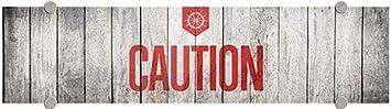Caution 24x6 5-Pack CGSignLab Nautical Wood Premium Brushed Aluminum Sign