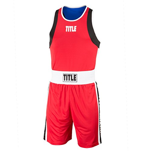 (Title Boxing Reversible Aerovent Elite Amateur Boxing Set 3, Red/Blue, Small)