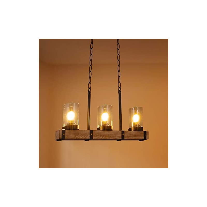 3-Lights Wooden Farmhouse Kitchen Island Lighting, Industrial Hanging Pendant Light Fixtures for Dinning Table, Bar…