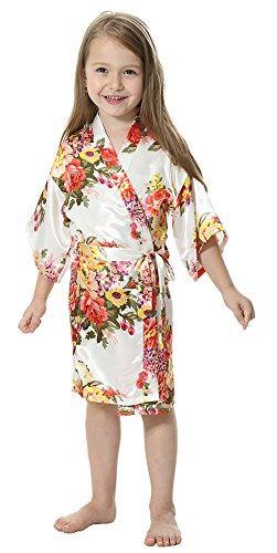 JOYTTON Girl's Satin Floral Kimono Bathrobe Flower Girl Robe (4,White) -