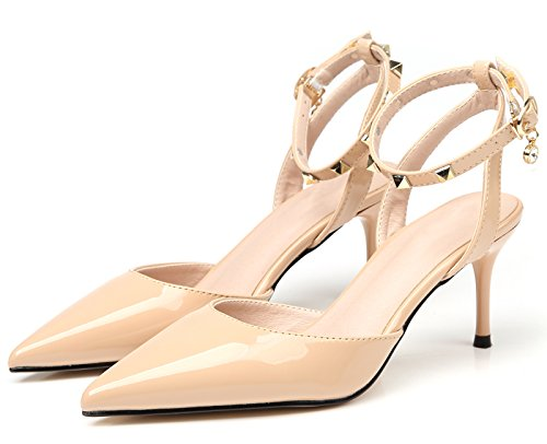 BIGTREE Dress Pumps Court Shoes Women Wedding Sandals Ankle Strap Pointed Toe Slingback Studded High Heels Beige Vo3xE