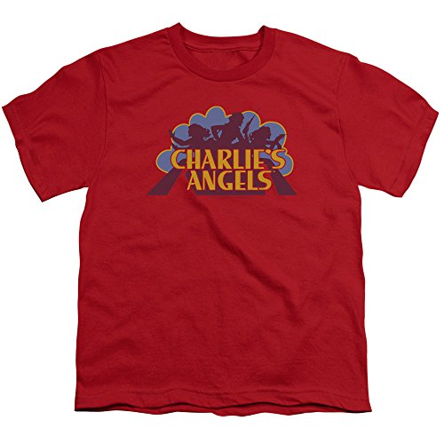 Charlies Angels Faded Logo Unisex Youth T Shirt for Boys and Girls, X-Large Red