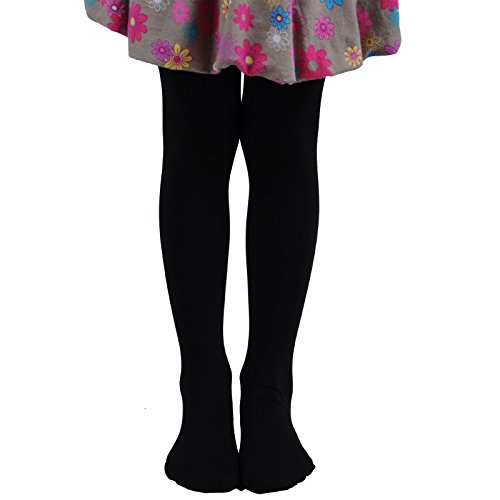 Leg Elegant Girls Microfiber Soft Opaque Solid Colored Footed Tights (5-7, Black)
