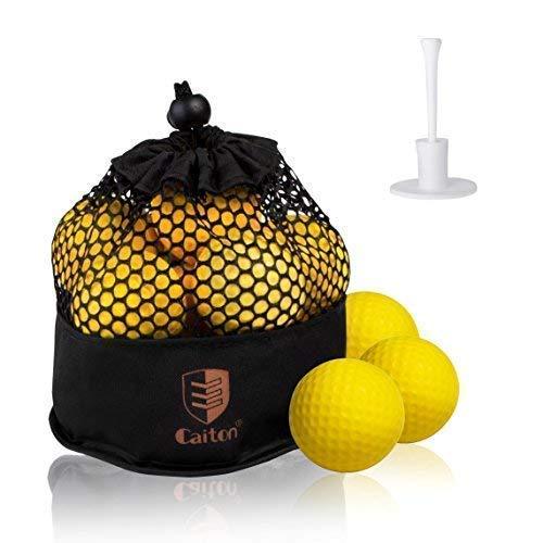 CAITON Foam Golf Practice Balls, Foam Golf Balls Super Soft for Indoor Practice Training with Adjustable Rubber Golf Tee Pack of 12 Yellow (Practice Ball) (Practice Golf Balls)