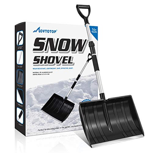 """MOVTOTOP Snow Shovel, Folding Shovel for Digging Snow with 47.2"""" Adjustable Aluminum Handle, Detachable 3 Piece Design, Compact Snow Shovel for Car Driveway, Home, Camping and Outdoor Emergency"""