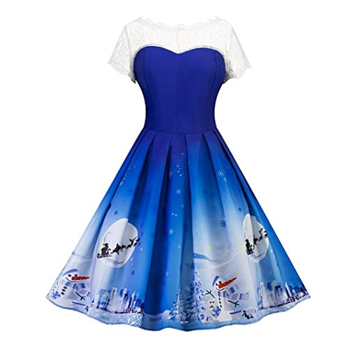 AmyDong Hot Sale! Ladies Christmas print dress, Autumn and winter Christmas snowflake snowman printing lace dress Fancy Printed Party Swing Retro Dress (Blue, 2XL) Snowflake Fancy Dress