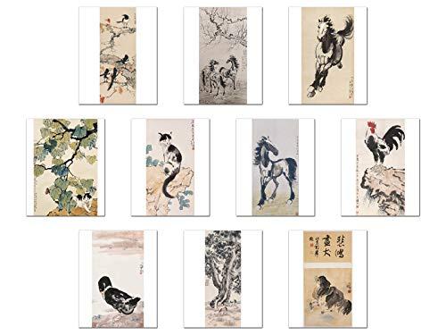 Wish Pub - Set of 10 Unframed China Fine Art Prints, Famous Chinese Painter Xu Beihong, 12x16 inch ()