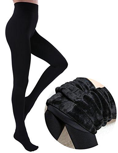 Warm Winter Tights (CHRLEISURE Women's Winter Thick Velvet Leggings Warm Solid Color Elastic Tights Pants Black)