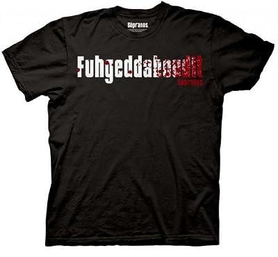 The Sopranos Fuhgeddaboudit Adult Black T-Shirt
