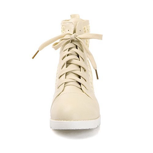 Adee Girls Heighten Inside Lace-Up Polyurethane Pumps Shoes Beige FKJOVBv