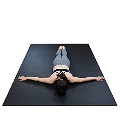 """RevTime Extra Large Exercise Mat 7 x 5 feet (84"""" x 60"""" x 1/4"""") 6 mm Thick & High Density Mat for Home Cardio and Yoga Workouts, Durable Gym Floor Mat, Black"""