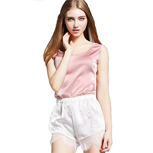 Zmart Women's Sexy Round Neck Silk Satin Camisoles Tank Tops Pink (Satin Sleeveless Blouse)