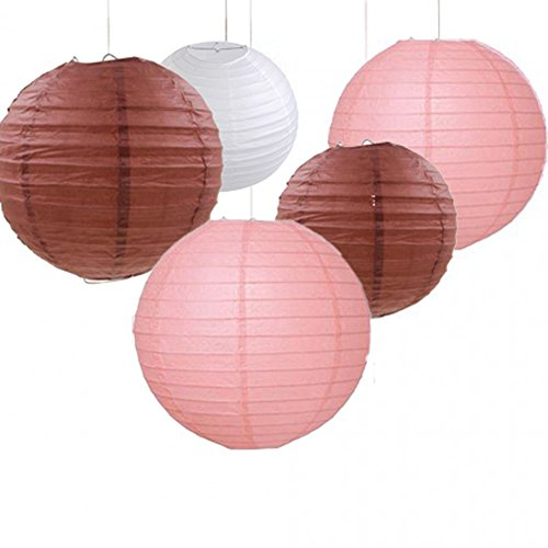 Set of 9 Pastel Pink Tan Brown White Round Paper Lantern Lamp Shades for Wedding Birthday Shower Party Hanging Decoration