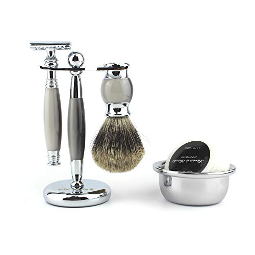 VICYUNS Luxury Grooming Shaving Set for Men Including Double-sided Razor, Allergy Shaving Soap, Stainless Steel Mirror Bowl, Hair Shaving Brush,10 Replacement Blades (Gray)
