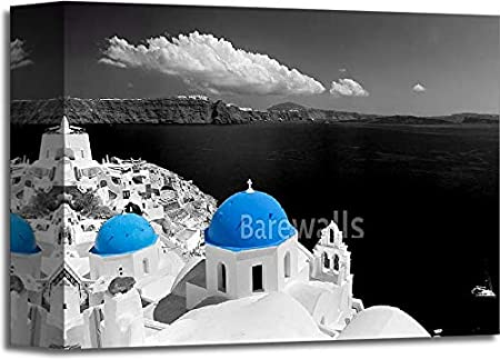 Amazon Com Oia Town On Santorini Island Greece Blue Dome Church Black And White Gallery Wrapped Canvas Art 8in X 10in Posters Prints