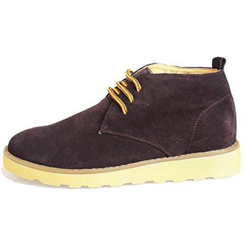 Heart&M casual alta corte cordones serraje cuero zapatos de hombre zapatos de trabajo Brown