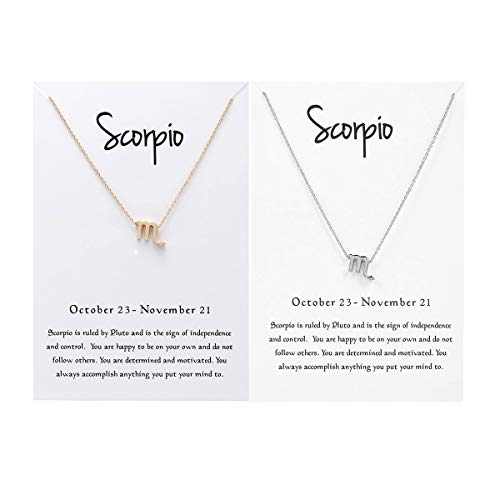 (JONERISE 2 Pack 12 Constellation Pendant Necklace Zodiac Sign Necklace with Birthday Gifts Message Card,Gold and Silver(Scorpio) )