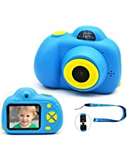 "Kids Digital Camera Rechargeable Shockproof Front and Rear Selfie Camera Camcorder Toy Holiday Gift for 3-10 Year Old Kids Boys and Girls Gift 2.0"" LCD Screen 720P (Blue)"
