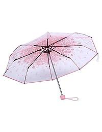 Zerodis Paraguas Plegables Resistente al Viento, Paraguas Transparente Mujer, Paraguas Plegables claros Transparentes de 36 Pulgadas con la Flor de Cerezo para el Viento y la Lluvia Pesada(Rosado)